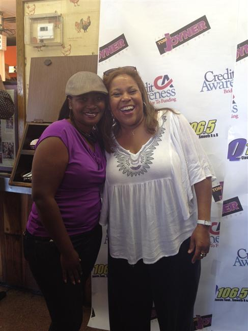 Sybil Wilkes with a listener in Baton Rouge, LA.