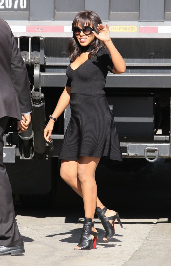"05/12/2016 - Kerry Washington - Kerry Washington Sighted Arriving at ""Jimmy Kimmel Live!"" on May 12, 2016 - ""Jimmy Kimmel Live!"" Studio - Los Angeles, CA, USA - Keywords: Black open toe high heel shoes, Black Christian Louboutin high heel shoes, Full Length Shot, vertical, Watch, ring, rings, jewelry, Black Dress, Baby Bump, Pregnant, second pregnancy, Sunglasses, Shoulder Length Wavy Black Hair, American actress, ""Scandal"", Olivia Pope, Arts Culture and Entertainment, Walking, Television Show Arrival, Arriving, Photography, Candid, Arts Culture and Entertainment, Person, People, Celebrities, Celebrity Sightings, Topix, Bestof, California Orientation: Portrait Face Count: 1 - False - Photo Credit: jmx2 / PRPhotos.com - Contact (1-866-551-7827) - Portrait Face Count: 1"