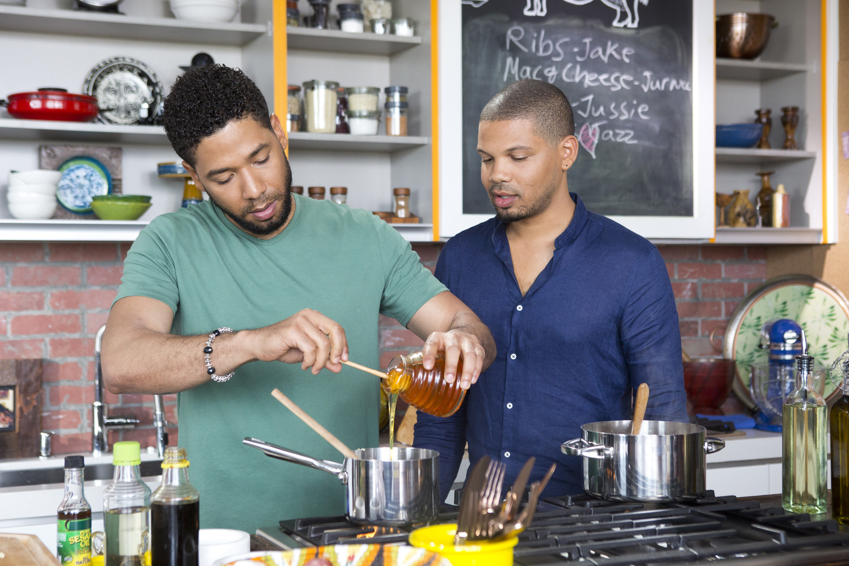 Jake helps Jussie prep his Grilled Chicken Wings with Pineapple-Ginger Teriyaki Sauce, as seen on Cooking Channel's What's Cooking With The Smollets, Season 1.