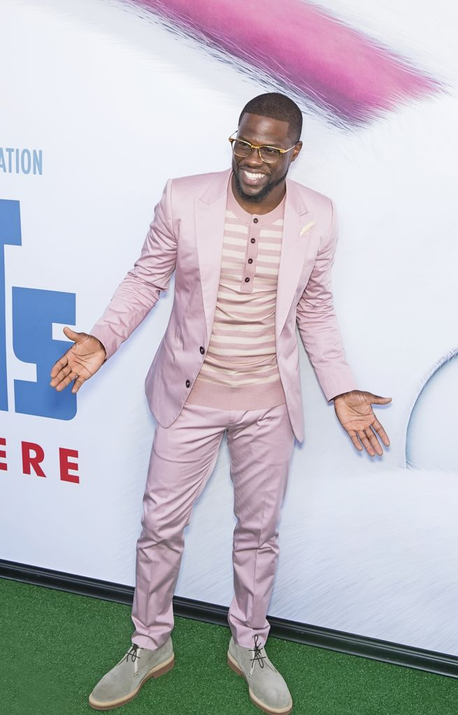 """06/25/2016 - Kevin Hart - """"The Secret Life of Pets"""" New York City Premiere - Arrivals - David H. Koch Theater at Lincoln Center - New York City, NY, USA - Keywords: comedic actor, stand-up comedian, performer, glasses, facial hair, pale pink suit and striped t-shirt with buttons, plays role of """"Snowball,"""" Universal Pictures and Illumination Entertainment presentation, clever, funny, comedy, culture, movie, animals, humans, casual attire Orientation: Portrait - False - Photo Credit: Laurence Agron / PRPhotos.com - Contact (1-866-551-7827) - Portrait"""