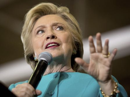 Democratic presidential candidate Hillary Clinton speaks at a rally at Palm Beach State College in Lake Worth, Fla., Wednesday, Oct. 26, 2016. (AP Photo/Andrew Harnik)