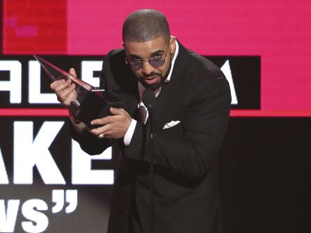 """Drake accepts the award for favorite album rap/hip-hop for """"Views"""" at the American Music Awards at the Microsoft Theater on Sunday, Nov. 20, 2016, in Los Angeles. (Photo by Matt Sayles/Invision/AP)"""
