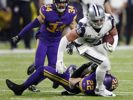 Dallas Cowboys tight end Jason Witten (82) is tackled by Minnesota Vikings free safety Harrison Smith (22) after making a reception during the second half of an NFL football game Thursday, Dec. 1, 2016, in Minneapolis. (AP Photo/Andy Clayton-King)