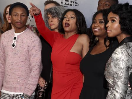 """Pharrell Williams, from left, Taraji P. Henson, Octavia Spencer and Janelle Monae attend the special screening of """"Hidden Figures"""" at the SVA Theatre on Saturday, Dec. 10, 2016, in New York. (Photo by Andy Kropa/Invision/AP)"""