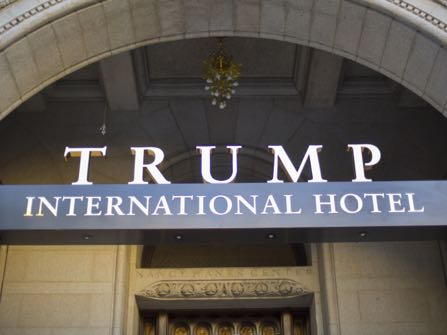 """Exterior of the Trump International Hotel in downtown Washington, Monday, Sept. 12, 2016. The luxury hotel Donald Trump has built in an iconic downtown Washington building is set to open. The Trump International Hotel will begin serving guests Monday. There won't be any fanfare around the opening, which is known as a """"soft opening."""" Grand-opening ceremonies are being planned for October. The Trump Organization won a 60-year lease from the federal government to transform the Old Post Office building on Pennsylvania Avenue into a hotel. (AP Photo/Pablo Martinez Monsivais)"""