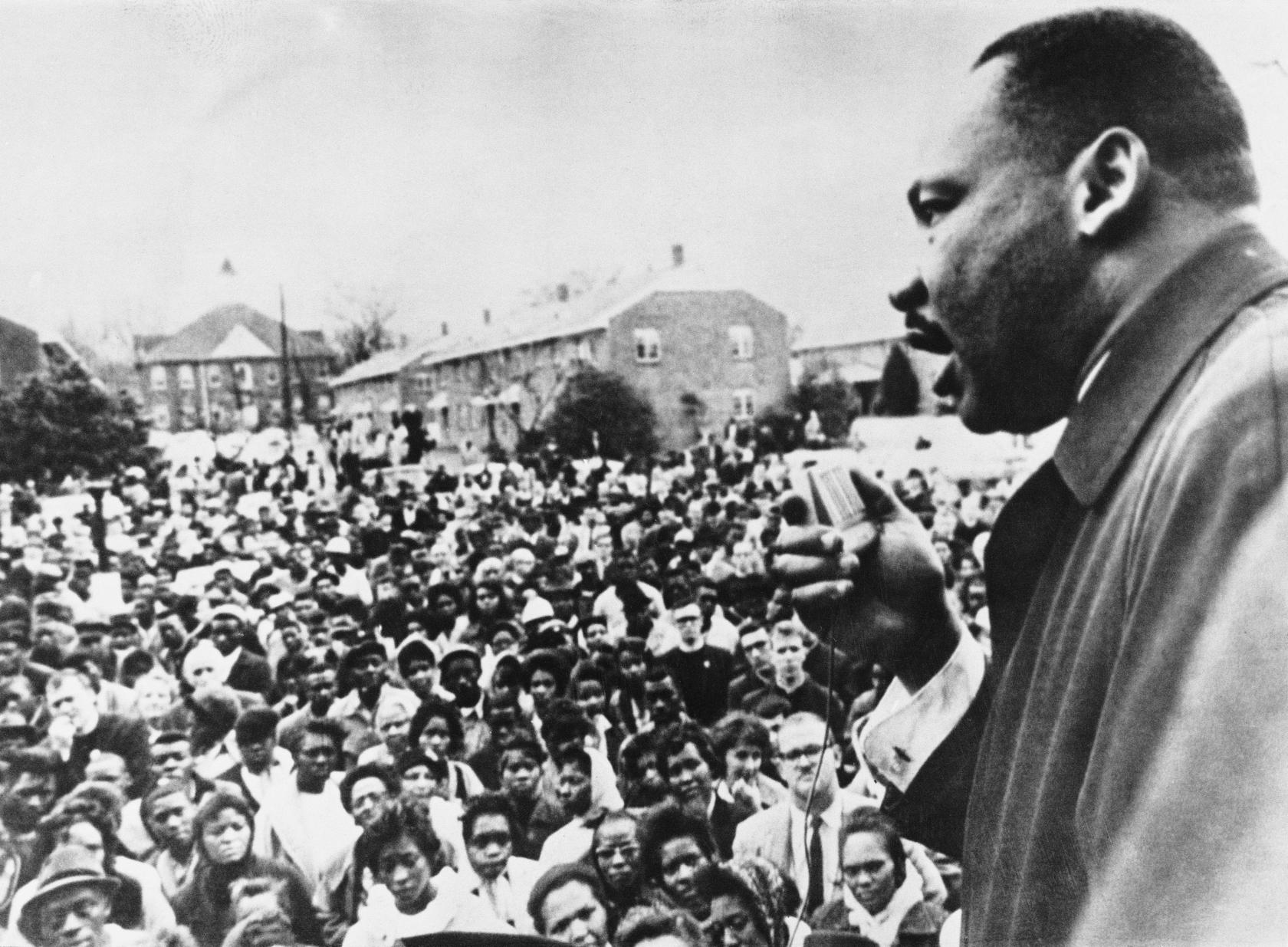 April 1965: Dr Martin Luther King (1929 - 1968) addresses civil rights marchers in Selma, Alabama. (Photo by Keystone/Getty Images)