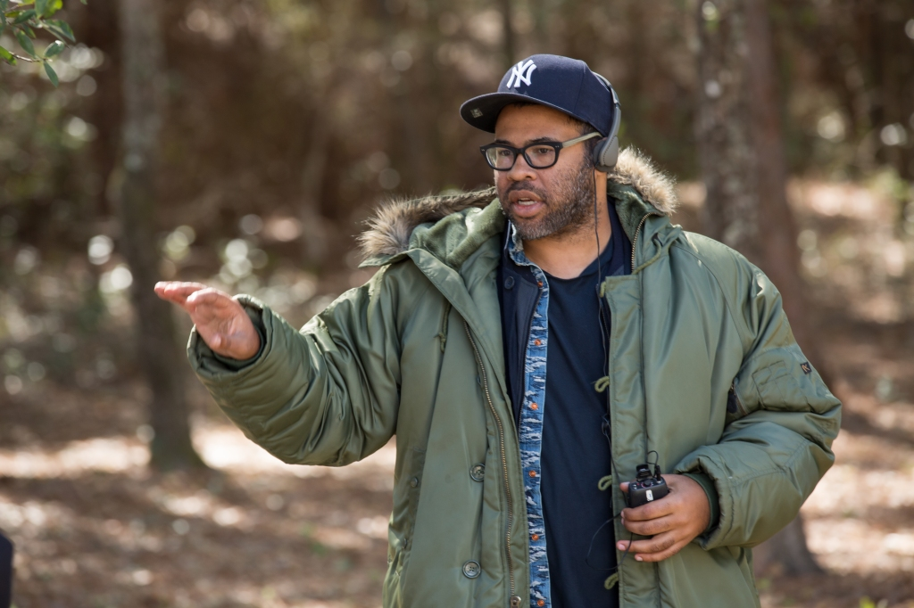 """Writer/director/producer JORDAN PEELE on the set of Universal Pictures' """"Get Out,"""" a speculative thriller from Blumhouse (producers of """"The Visit,"""" """"Insidious"""" series and """"The Gift"""") and the mind of Peele. When a young African-American man visits his white girlfriend's family estate, he becomes ensnared in a more sinister real reason for the invitation."""
