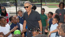 Barack Obama Visits The Washington Nationals Youth Baseball Academy
